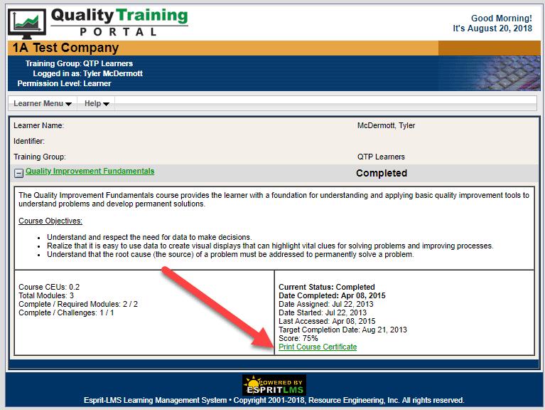 QualityTrainingPortal Print Certificate Link