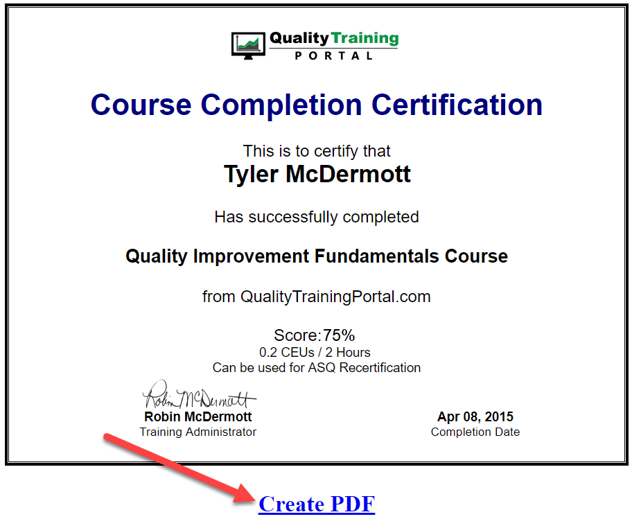 QualityTrainingPortal course completion certificate and PDF link.
