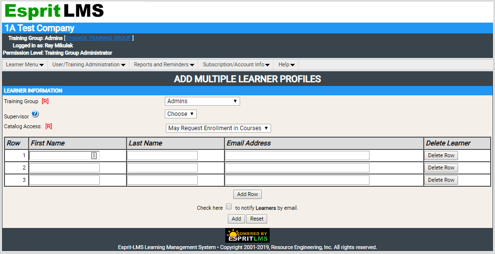 Adding Learner/User Profiles | QualityTrainingPortal